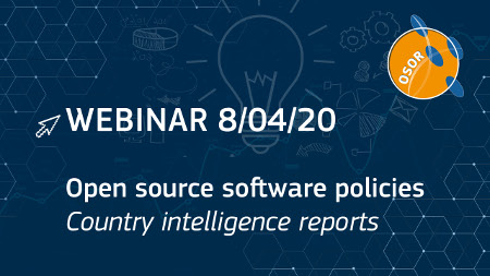 "Webinar του Open Source Observatory (ΟSOR)  με τίτλο ""Οpen source software policies - country intelligence reports"": 08/04/2020"